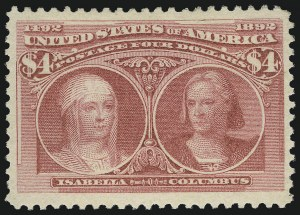 Sale Number 1057, Lot Number 832, 1893 Columbian Issue (Scott 230-245)$4.00 Rose Carmine, Columbian (244), $4.00 Rose Carmine, Columbian (244)