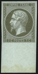 Sale Number 1058, Lot Number 5022, 1853-60 Second Empire Napoleon IssueFRANCE, 1860, 1c Olive Green on Pale Blue Paper (12; Yvert 19), FRANCE, 1860, 1c Olive Green on Pale Blue Paper (12; Yvert 19)