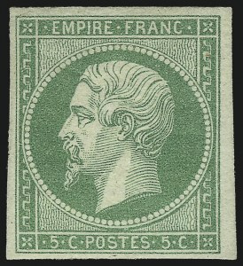 Sale Number 1058, Lot Number 5023, 1853-60 Second Empire Napoleon IssueFRANCE, 1854, 5c Green on Greenish Paper (13; Yvert 12), FRANCE, 1854, 5c Green on Greenish Paper (13; Yvert 12)