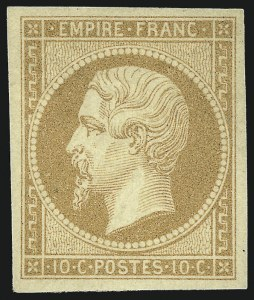 Sale Number 1058, Lot Number 5024, 1853-60 Second Empire Napoleon IssueFRANCE, 1853, 10c Bister on Yellowish Paper (14; Yvert 13A), FRANCE, 1853, 10c Bister on Yellowish Paper (14; Yvert 13A)
