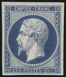 Sale Number 1058, Lot Number 5025, 1853-60 Second Empire Napoleon IssueFRANCE, 1853, 25c Blue on Bluish Paper (17; Yvert 15), FRANCE, 1853, 25c Blue on Bluish Paper (17; Yvert 15)
