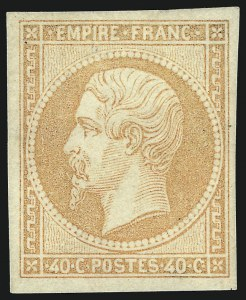 Sale Number 1058, Lot Number 5026, 1853-60 Second Empire Napoleon IssueFRANCE, 1853, 40c Orange on Yellowish Paper (18; Yvert 16), FRANCE, 1853, 40c Orange on Yellowish Paper (18; Yvert 16)