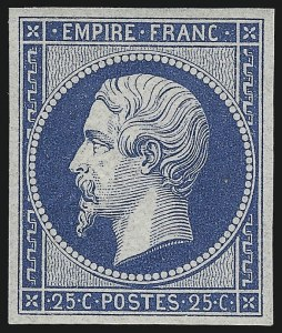 Sale Number 1058, Lot Number 5030, 1862 Re-Issue of 1853-60 IssueFRANCE, 1862, 25c Blue Re-Issue (17c; Yvert 15c), FRANCE, 1862, 25c Blue Re-Issue (17c; Yvert 15c)