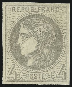 Sale Number 1058, Lot Number 5044, 1870-71 Bordeaux IssueFRANCE, 1870, 4c Gray (40; Yvert 41B), FRANCE, 1870, 4c Gray (40; Yvert 41B)