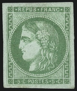 Sale Number 1058, Lot Number 5045, 1870-71 Bordeaux IssueFRANCE, 1870, 5c Yellow Green on Greenish Paper (41; Yvert 42B), FRANCE, 1870, 5c Yellow Green on Greenish Paper (41; Yvert 42B)