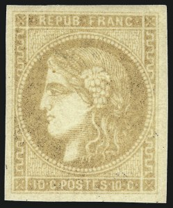 Sale Number 1058, Lot Number 5046, 1870-71 Bordeaux IssueFRANCE, 1870, 10c Bister on Yellowish Paper, Type B (42a; Yvert 43B), FRANCE, 1870, 10c Bister on Yellowish Paper, Type B (42a; Yvert 43B)
