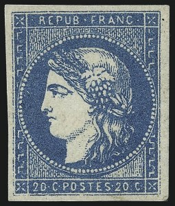 Sale Number 1058, Lot Number 5047, 1870-71 Bordeaux IssueFRANCE, 1870, 20c Blue on Bluish Paper, Type I, Report I (43; Yvert 44A), FRANCE, 1870, 20c Blue on Bluish Paper, Type I, Report I (43; Yvert 44A)