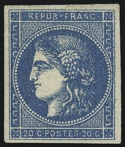 Sale Number 1058, Lot Number 5048, 1870-71 Bordeaux IssueFRANCE, 1870-71, 20c Blue on Bluish Paper, Type II, Report I (44; Yvert 45A), FRANCE, 1870-71, 20c Blue on Bluish Paper, Type II, Report I (44; Yvert 45A)