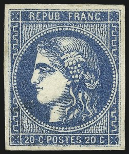 Sale Number 1058, Lot Number 5049, 1870-71 Bordeaux IssueFRANCE, 1871, 20c Blue on Bluish Paper, Type III, Report II (45; Yvert 45B), FRANCE, 1871, 20c Blue on Bluish Paper, Type III, Report II (45; Yvert 45B)