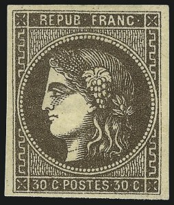 Sale Number 1058, Lot Number 5050, 1870-71 Bordeaux IssueFRANCE, 1870, 30c Brown on Yellowish Paper (46; Yvert 47), FRANCE, 1870, 30c Brown on Yellowish Paper (46; Yvert 47)