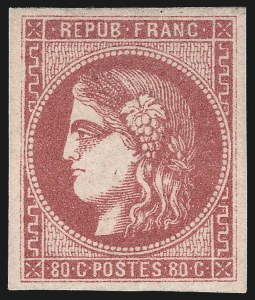 Sale Number 1058, Lot Number 5052, 1870-71 Bordeaux IssueFRANCE, 1870, 80c Rose on Pinkish Paper (48; Yvert 49), FRANCE, 1870, 80c Rose on Pinkish Paper (48; Yvert 49)