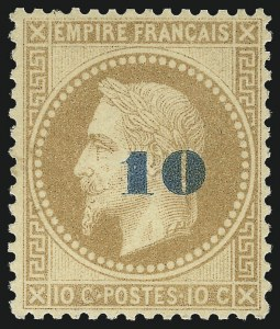 Sale Number 1058, Lot Number 5053, 1870-71 Bordeaux IssueFRANCE, 1871, 10c on 10c Bister (49; Yvert 34), FRANCE, 1871, 10c on 10c Bister (49; Yvert 34)