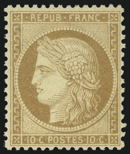 Sale Number 1058, Lot Number 5054, 1870-75 Ceres IssueFRANCE, 1870, 10c Bister on Yellowish Paper (54; Yvert 36), FRANCE, 1870, 10c Bister on Yellowish Paper (54; Yvert 36)
