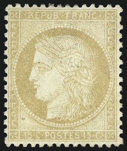 Sale Number 1058, Lot Number 5055, 1870-75 Ceres IssueFRANCE, 1871, 15c Bister on Yellowish Paper (56; Yvert 55), FRANCE, 1871, 15c Bister on Yellowish Paper (56; Yvert 55)