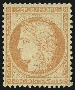 Sale Number 1058, Lot Number 5056, 1870-75 Ceres IssueFRANCE, 1870, 40c Orange on Yellowish Paper, Type I (59; Yvert 38), FRANCE, 1870, 40c Orange on Yellowish Paper, Type I (59; Yvert 38)