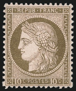 Sale Number 1058, Lot Number 5057, 1870-75 Ceres IssueFRANCE, 1875, 10c Bister on Rose Paper (60; Yvert 54), FRANCE, 1875, 10c Bister on Rose Paper (60; Yvert 54)