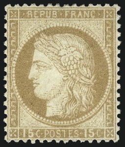 Sale Number 1058, Lot Number 5058, 1870-75 Ceres IssueFRANCE, 1873, 15c Bister (61; Yvert 55), FRANCE, 1873, 15c Bister (61; Yvert 55)