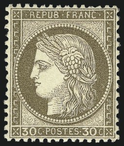 Sale Number 1058, Lot Number 5059, 1870-75 Ceres IssueFRANCE, 1872, 30c Brown on Yellowish Paper (62; Yvert 56), FRANCE, 1872, 30c Brown on Yellowish Paper (62; Yvert 56)