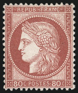 Sale Number 1058, Lot Number 5060, 1870-75 Ceres IssueFRANCE, 1872, 80c Rose on Pinkish Paper (63; Yvert 57), FRANCE, 1872, 80c Rose on Pinkish Paper (63; Yvert 57)