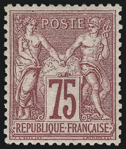 Sale Number 1058, Lot Number 5067, 1876-79 Peace and Commerce IssueFRANCE, 1876, 75c Carmine on Rose Paper, Type I (75; Yvert 71), FRANCE, 1876, 75c Carmine on Rose Paper, Type I (75; Yvert 71)