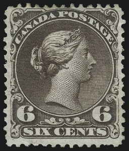 Sale Number 1059, Lot Number 6093, Canada - 1868-89 Large and Small Queens IssuesCANADA, 1868, 6c Dark Brown (27; SG 59), CANADA, 1868, 6c Dark Brown (27; SG 59)