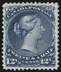 Sale Number 1059, Lot Number 6095, Canada - 1868-89 Large and Small Queens IssuesCANADA, 1868, 12-1/2c Blue (28; SG 60), CANADA, 1868, 12-1/2c Blue (28; SG 60)