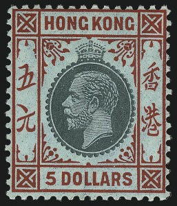 Sale Number 1059, Lot Number 6431, Hong Kong StampsHONG KONG, 1914, $5.00 Red & Green on Green, Surface-Colored Paper (127; SG 115a), HONG KONG, 1914, $5.00 Red & Green on Green, Surface-Colored Paper (127; SG 115a)