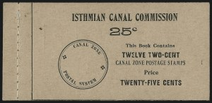Sale Number 1060, Lot Number 3026, Canal ZoneCANAL ZONE, 1909, 2c Vermilion & Black, Ovpt. Reading Up, Booklet Pane of Six, Handmade, Perf Margins (32c), CANAL ZONE, 1909, 2c Vermilion & Black, Ovpt. Reading Up, Booklet Pane of Six, Handmade, Perf Margins (32c)