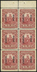 Sale Number 1060, Lot Number 3030, Canal ZoneCANAL ZONE, 1921, 2c Carmine, Booklet Pane of Six (61f), CANAL ZONE, 1921, 2c Carmine, Booklet Pane of Six (61f)