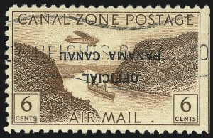 "Sale Number 1060, Lot Number 3037, Canal ZoneCANAL ZONE, 1947, 6c Yellow Brown, Air Post Official, ""Panama Canal"" 19-20mm Long, Inverted Ovpt. (CO14a), CANAL ZONE, 1947, 6c Yellow Brown, Air Post Official, ""Panama Canal"" 19-20mm Long, Inverted Ovpt. (CO14a)"