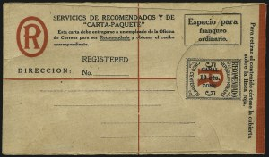 Sale Number 1060, Lot Number 3043, Canal ZoneCANAL ZONE, 1919, 10c on 5c Black & Red on Cream, Registration (UF1), CANAL ZONE, 1919, 10c on 5c Black & Red on Cream, Registration (UF1)