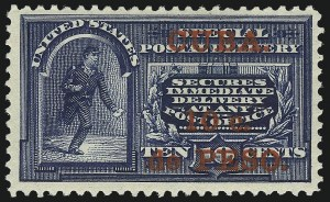 Sale Number 1060, Lot Number 3055, Cuba thru Danish West IndiesCUBA, 1900, 10c on 10c Blue, Special Delivery, Special Printing (E1SP), CUBA, 1900, 10c on 10c Blue, Special Delivery, Special Printing (E1SP)