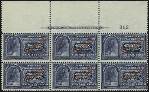 Sale Number 1060, Lot Number 3066, GuamGUAM, 1899, 10c Blue, Special Delivery, Five Dots in Curved Frame Above Messenger's Head (E1a), GUAM, 1899, 10c Blue, Special Delivery, Five Dots in Curved Frame Above Messenger's Head (E1a)