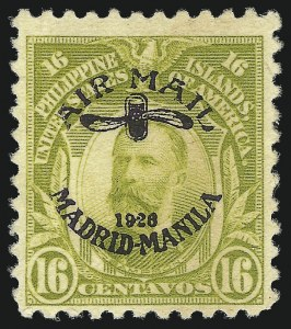 Sale Number 1060, Lot Number 3133, Philippines, Air Post thru Special DeliveryPHILIPPINES, 1926, 16c Light Olive Green, Violet Overprint (C7), PHILIPPINES, 1926, 16c Light Olive Green, Violet Overprint (C7)