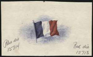 Sale Number 1061, Lot Number 3255, Essays and Proofs, 1870 to Back-of-BookOverrun Country Issue, 1943, Red, White and Blue Engraved French Flag Die Proof, Overrun Country Issue, 1943, Red, White and Blue Engraved French Flag Die Proof