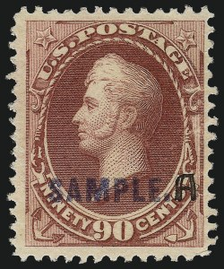 "Sale Number 1061, Lot Number 3291, Specimen Overprints4c-90c 1889 American Bank Note Issue, Handstamped ""Sample"" with Manuscript ""A"", and Manuscript ""Sample A"" Ovpts. (191S-211S-M, 216S-N), 4c-90c 1889 American Bank Note Issue, Handstamped ""Sample"" with Manuscript ""A"", and Manuscript ""Sample A"" Ovpts. (191S-211S-M, 216S-N)"