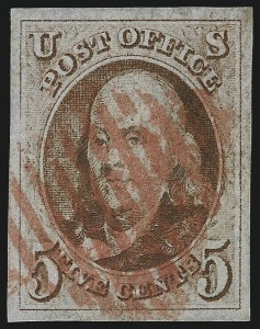Sale Number 1061, Lot Number 3328, 1847 Issue (Scott 1-2)5c Red Brown (1), 5c Red Brown (1)