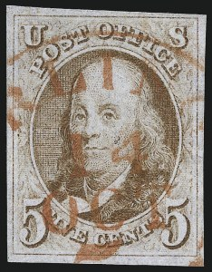 Sale Number 1061, Lot Number 3331, 1847 Issue (Scott 1-2)5c Red Brown (1), 5c Red Brown (1)