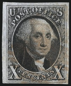 Sale Number 1061, Lot Number 3344, 1847 Issue (Scott 1-2)10c Black, Double Transfer Ty. B (2-B), 10c Black, Double Transfer Ty. B (2-B)