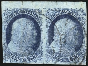 Sale Number 1061, Lot Number 3354, 1c-3c 1851-56 Issue (Scott 5A-11A)1c Blue, Ty. II-Ib (7-5A), 1c Blue, Ty. II-Ib (7-5A)