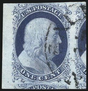 Sale Number 1061, Lot Number 3356, 1c-3c 1851-56 Issue (Scott 5A-11A)1c Blue, Ty. II (7), 1c Blue, Ty. II (7)