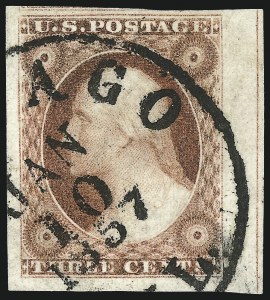 Sale Number 1061, Lot Number 3369, 1c-3c 1851-56 Issue (Scott 5A-11A)3c Claret, Ty. I (11), 3c Claret, Ty. I (11)