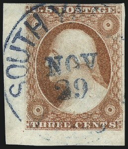 Sale Number 1061, Lot Number 3370, 1c-3c 1851-56 Issue (Scott 5A-11A)3c Dull Red, Ty. I (11), 3c Dull Red, Ty. I (11)