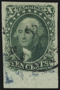 Sale Number 1061, Lot Number 3388, 5c-12c 1851-56 Issue (Scott 12-17)10c Green, Ty. I (13), 10c Green, Ty. I (13)