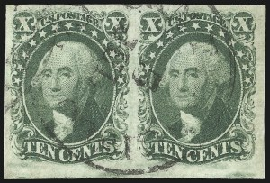 Sale Number 1061, Lot Number 3389, 5c-12c 1851-56 Issue (Scott 12-17)10c Green, Ty. II (14), 10c Green, Ty. II (14)
