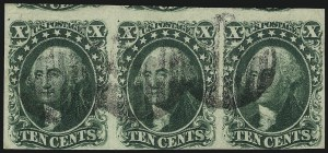 Sale Number 1061, Lot Number 3391, 5c-12c 1851-56 Issue (Scott 12-17)10c Green, Ty. II (14), 10c Green, Ty. II (14)