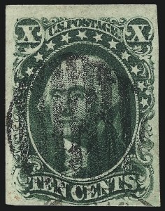 Sale Number 1061, Lot Number 3395, 5c-12c 1851-56 Issue (Scott 12-17)10c Green, Ty. IV (16), 10c Green, Ty. IV (16)