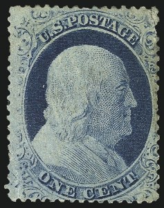 Sale Number 1061, Lot Number 3402, 1c 1857-60 Issue by Plate (Scott 18-24)1c Blue, Ty. IV, Triple Transfer, One Inverted (23 var), 1c Blue, Ty. IV, Triple Transfer, One Inverted (23 var)