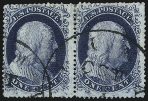 Sale Number 1061, Lot Number 3408, 1c 1857-60 Issue by Plate (Scott 18-24)1c Blue, Ty. II (20), 1c Blue, Ty. II (20)