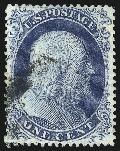Sale Number 1061, Lot Number 3410, 1c 1857-60 Issue by Plate (Scott 18-24)1c Blue, Ty. III (21), 1c Blue, Ty. III (21)